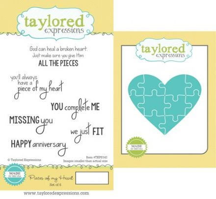 TEPS141 ~ PIECES OF MY HEART - SET OF 6 Stamps with coordinating die by Taylored Expressions